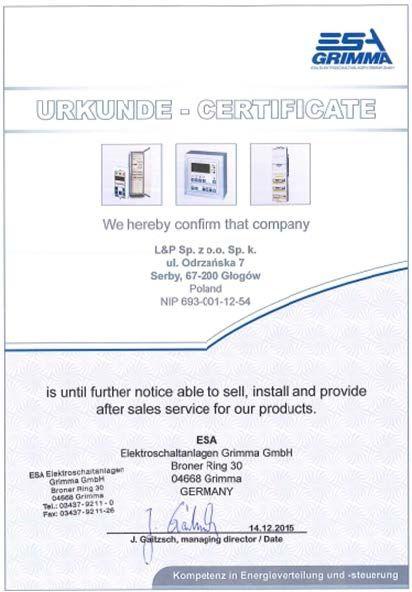 Certyfikat producenta